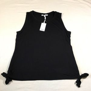 Rose + Olive Sz L Black Top with Tie Sides NWT